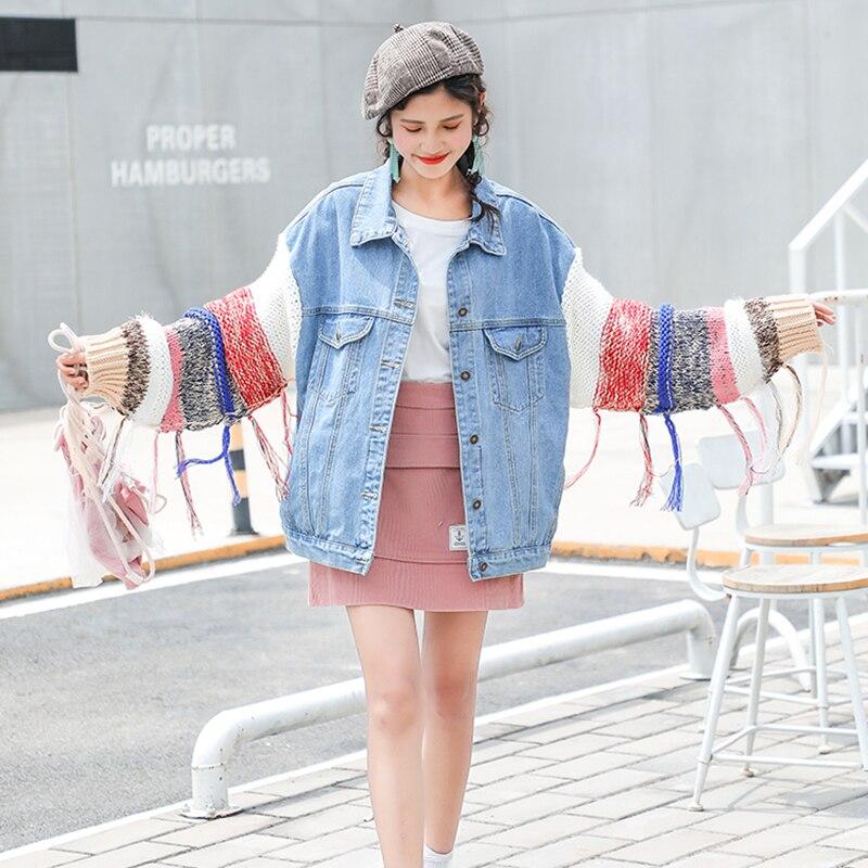 Femmes Blue Dark Blue Outwear Bf Vintage Harajuku 2018 Veste Longues Manteau En Nouveau Lâche Oversize light Jean Laine Manches Hiver Automne tqRqWwUT