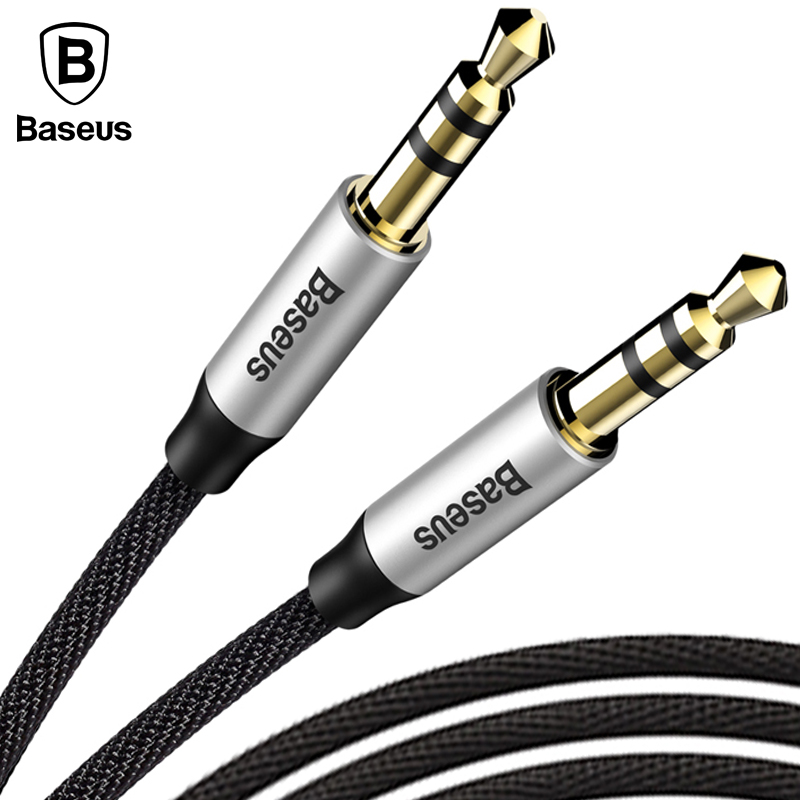 Baseus 3.5mm Jack Audio Cable Gold Plated Jack 3.5 mm Male to Male Cloth Audio Aux Cable For iPhone Car Headphone Beats Speaker  skw audio cable speaker wire male to male hi end gold plated jack nylon cable lock adapter connector for hifi amplifier 5 16ft