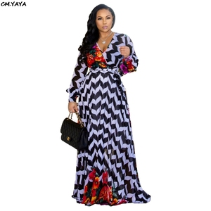 2019 new women summer printed chiffon v-neck long sleeve floor length fit and flare maxi dress night party long dresses YM-8380