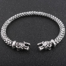 Gothic Viking Norse Dragon Bracelet Handmade Opening Vikings of Midgard Bangles two-headed Wolf Bracelet for men accessories(China)