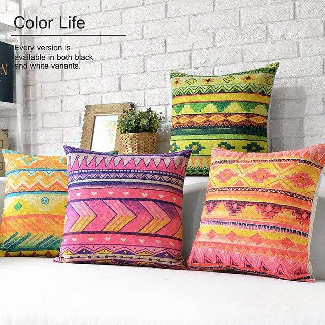 New Bohemian Throw Pillow Case Aztec Cushion Cover Geometric Watercolor Decorative Sofa Cushions Cases Linen Bright Colors 18