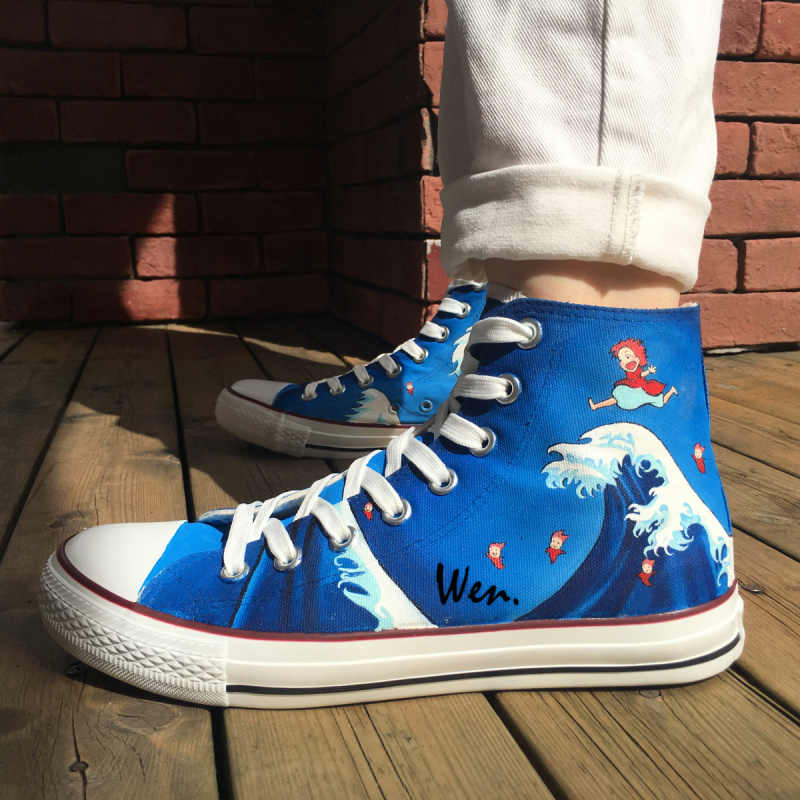 Wen Anime Hand Painted Shoes Design Custom Ponyo Men Women S Blue