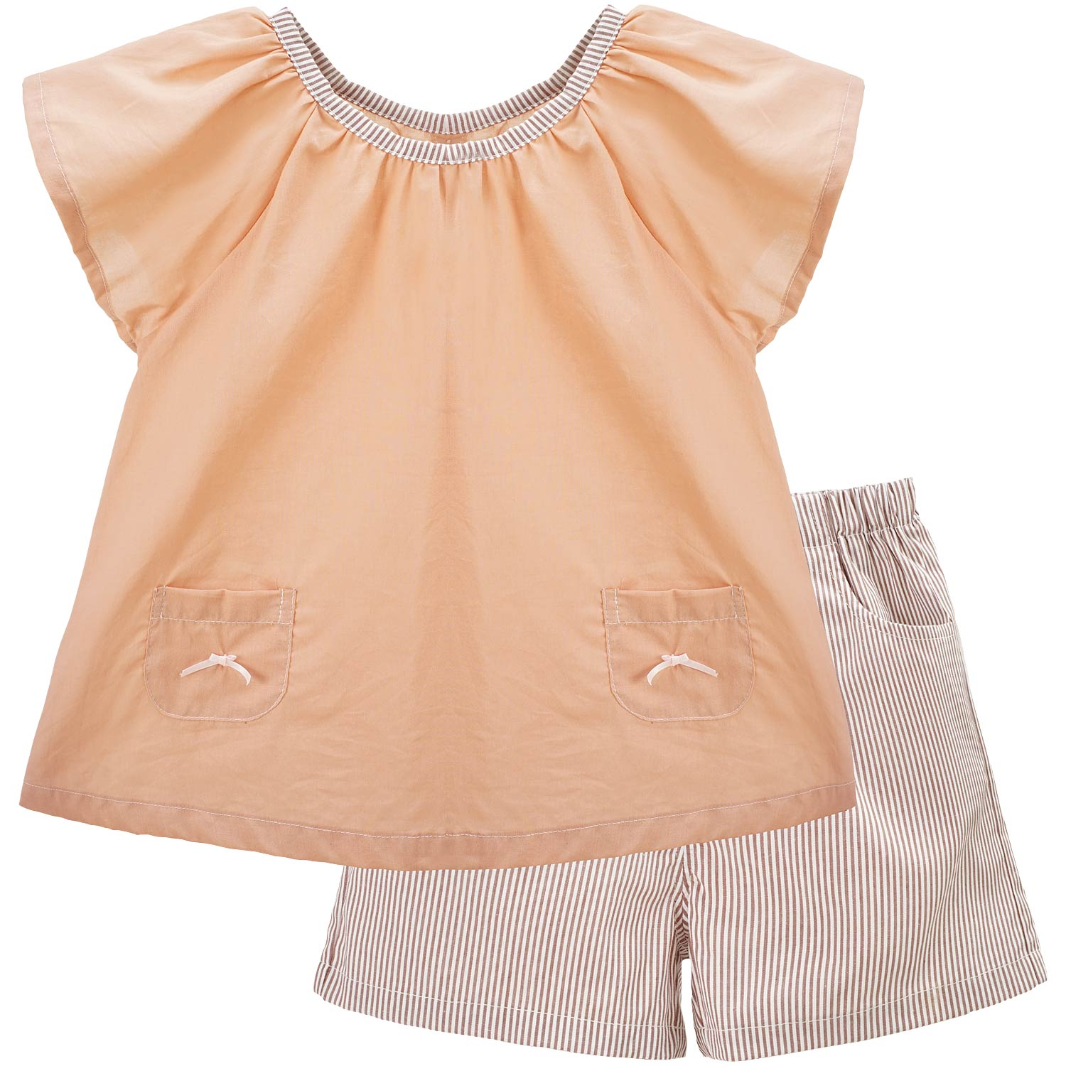 Yingzifang Limited New Cotton 2017 Girls Baby Summer Casual Clothing Sets Solid Color Girl Tops Shirts