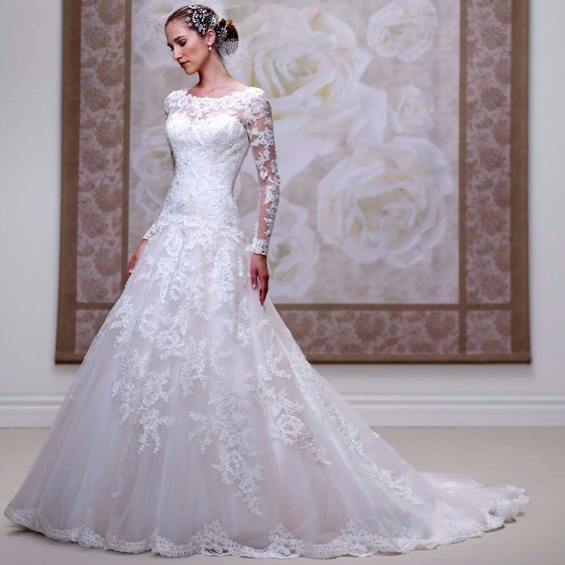 Drop Sleeve Wedding Gowns With: 2017 Long Sleeve Country Western A Line Wedding Dress