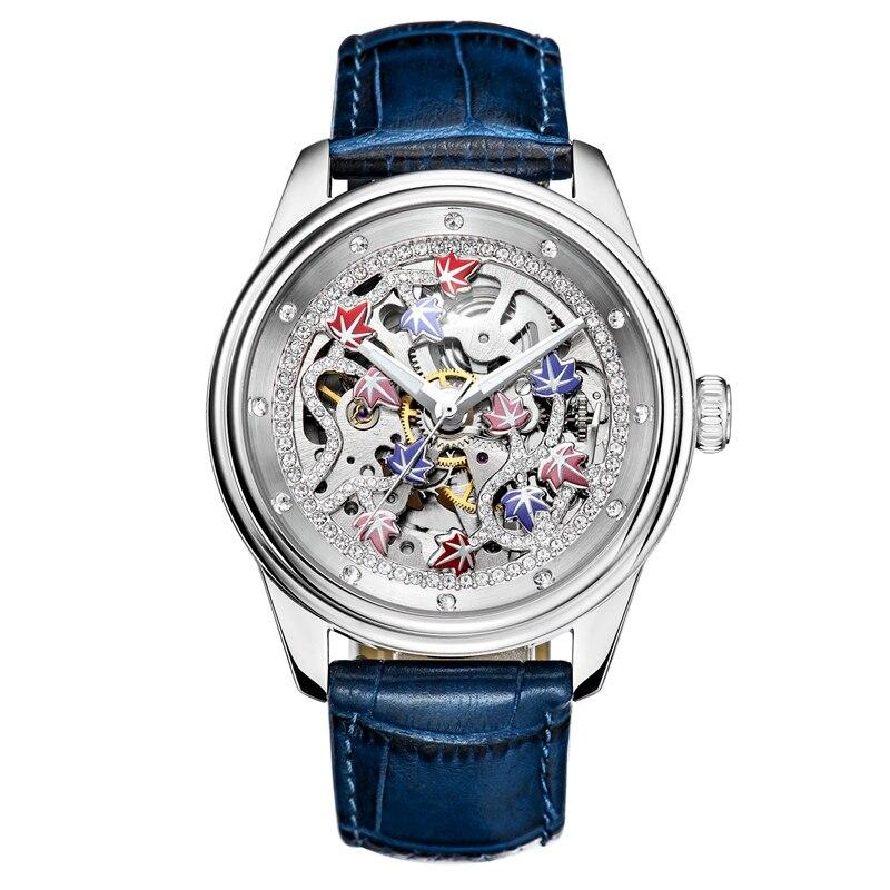 New Hollow Automatic Mechanical Watch Female Luxury Watch Steel Woman Fashion Watches Top Brand Ladies Leisure Clock Waterproof цена и фото