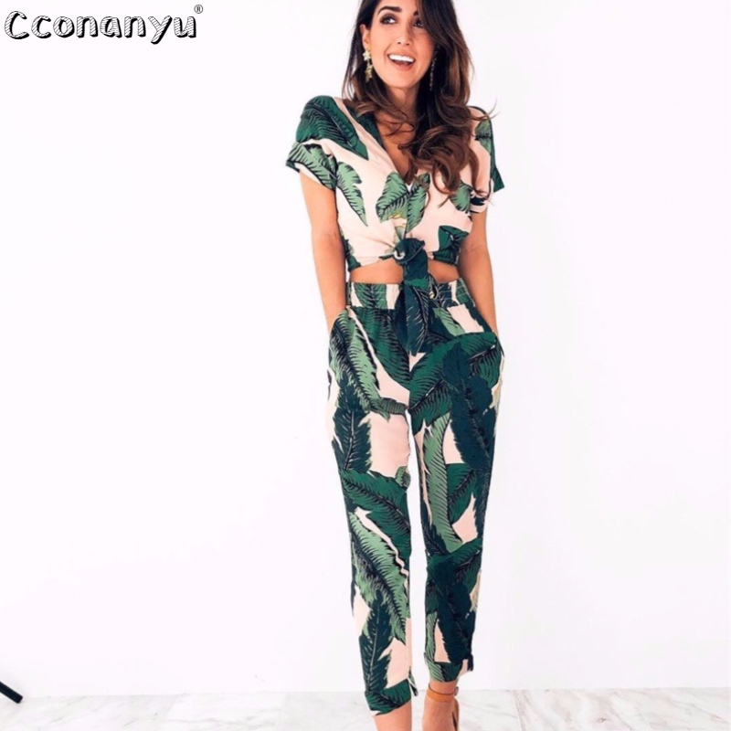 Women 2 Piece Set Summer Two-Pieces Outfits For Women Printing  V-Neck Pockets Casual Beach Romper 2019 Casual Bodysuit Overalls