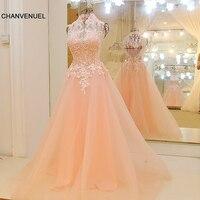 LS64518 Vestidos de festa formal barata de pescoço alto Uma linha de comprimento sem moldura do assoalho Sexy Backless Beaded Tulle Evening Gown Pink