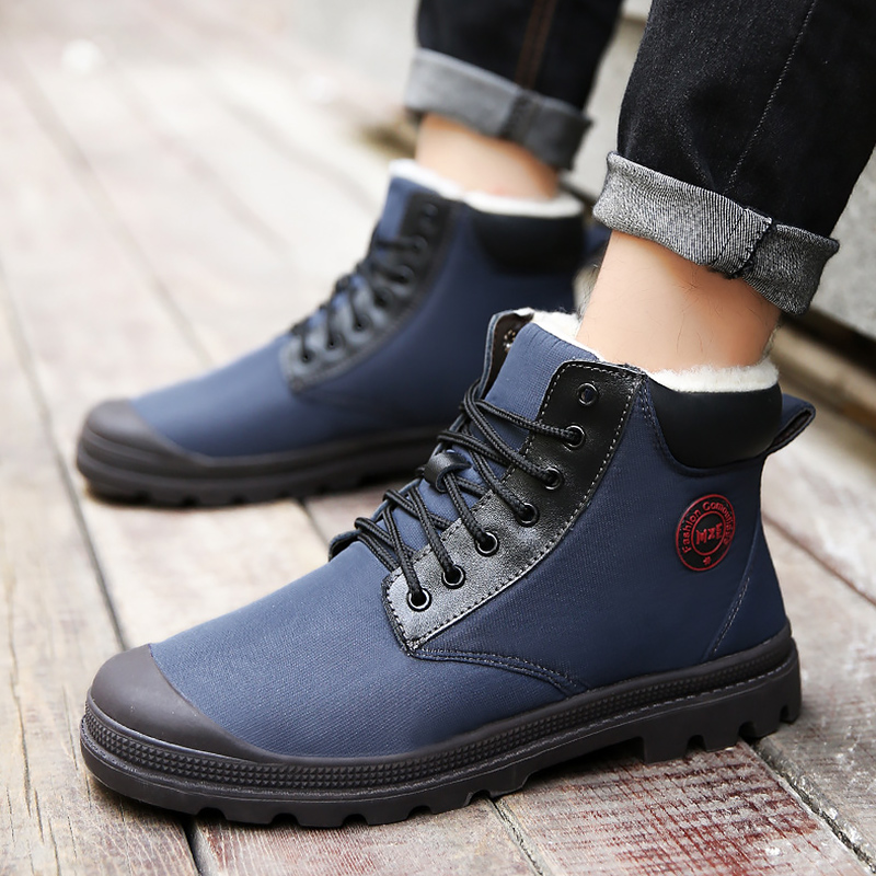 Men's Boots Winter Plus Size 45 Wedges Warm Snow Boots For Boys Casual Lace Up Solid Ankle Boots Male Short Plush