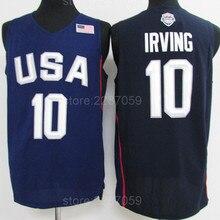 796af0073f0d Ediwallen 2016 USA Kyrie Irving Jersey 10 Men Dream Twelve Team Basketball  Sports Jerseys Sleeveless Stitched Blue Color White