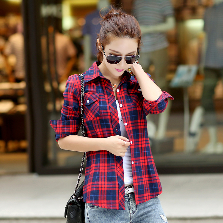 Girl College Style long sleeve Cotton checkered shirts Blouse ...