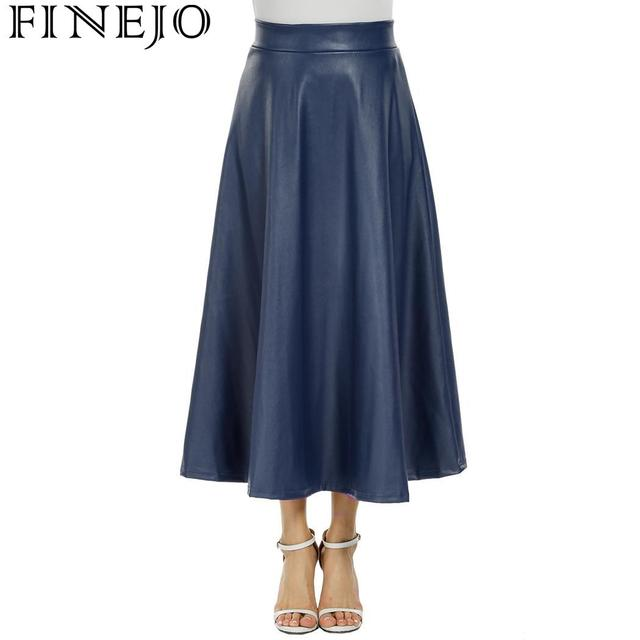 FINEJO Skirts Women Maxi Flared Party Skater Skirt Birthday High Swing Leather