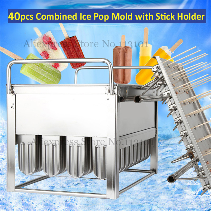 Ice Pop Maker Frozen Mold Popsicle Yogurt Ice Cream Mould 40pcs/Set with Stick Holder s004 high quality popsicle mold ice cream with spherical ice box