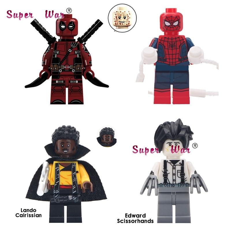 50pcs Super Hero  Movie Lando Cairissian Edward Scissorhands  Spider Man Deadpool building block for children toys-in Blocks from Toys & Hobbies    1