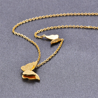 Romantic Gift 316L Stainless Steel Gold Color Butterfly Pendant Necklace Link Chain Choker Necklace For Women