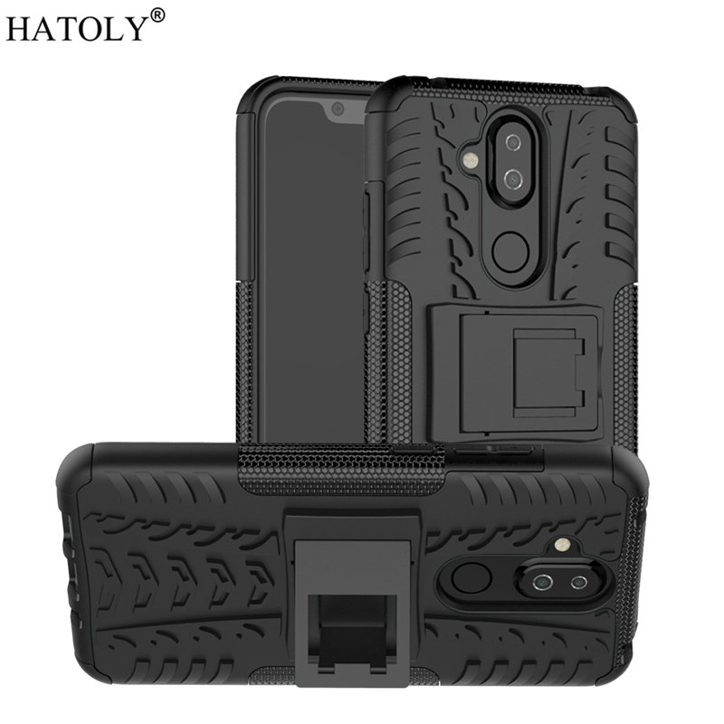 For Cover Nokia 8.1 Case Heavy Duty Armor Shell Protective Hard Rubber Silicone PC Phone Case for Nokia 8.1 Cover for Nokia 8.1
