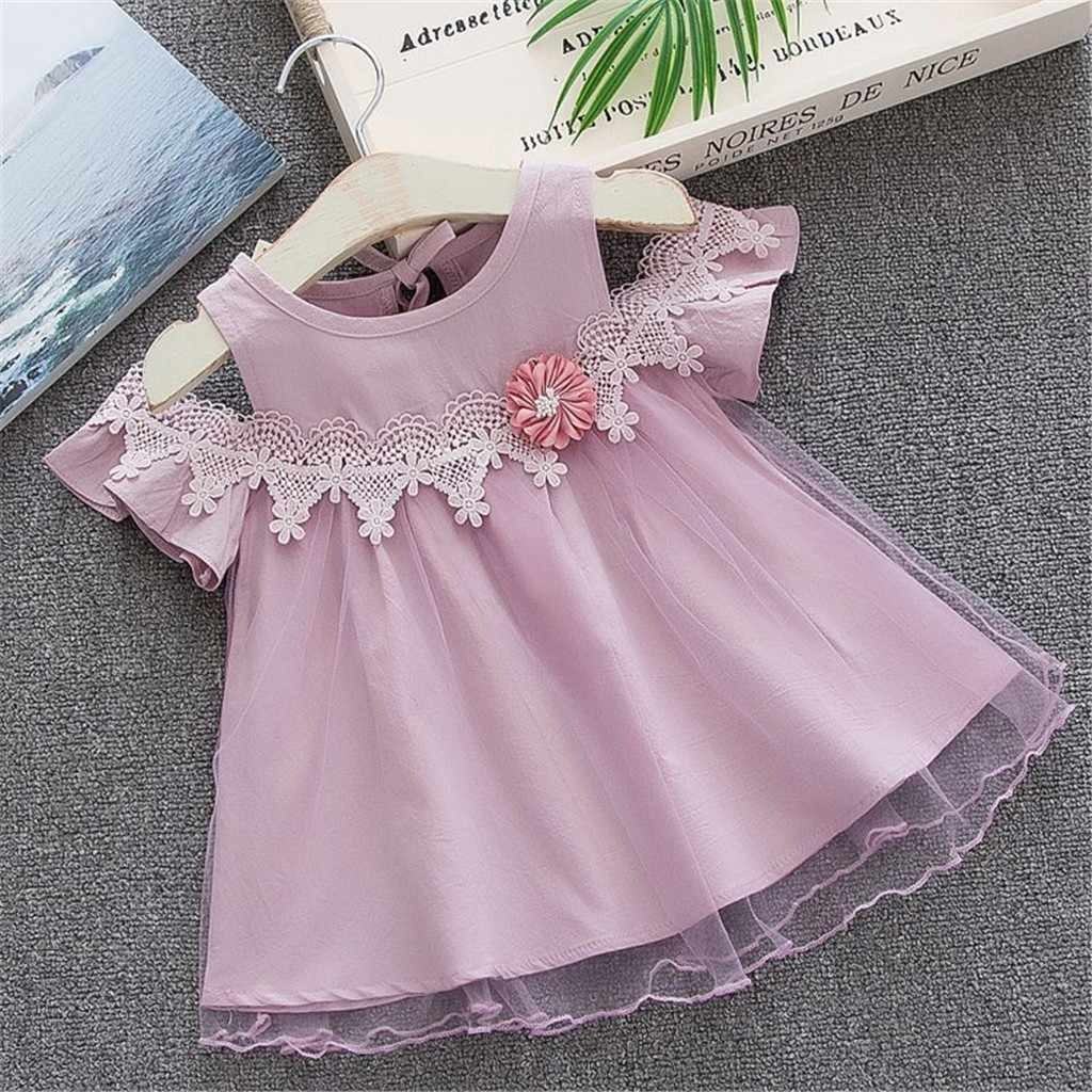 7987445424c7c Korean style Toddler Solid Dresses Baby Girls Off Shoulder Tulle Floral  Party Princess Dresses Clothes vestiti neonata estivi