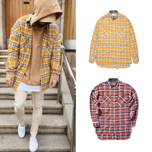 NEW Quality flannel Scotland yellow Red grid long sleeve shirts Hiphop extended curved hem oversized Men Casual Cotton shirt