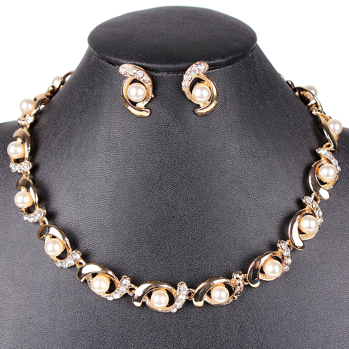 PN12306 Classic Gold Necklace Set Simulated Pearl Bridal Jewelry
