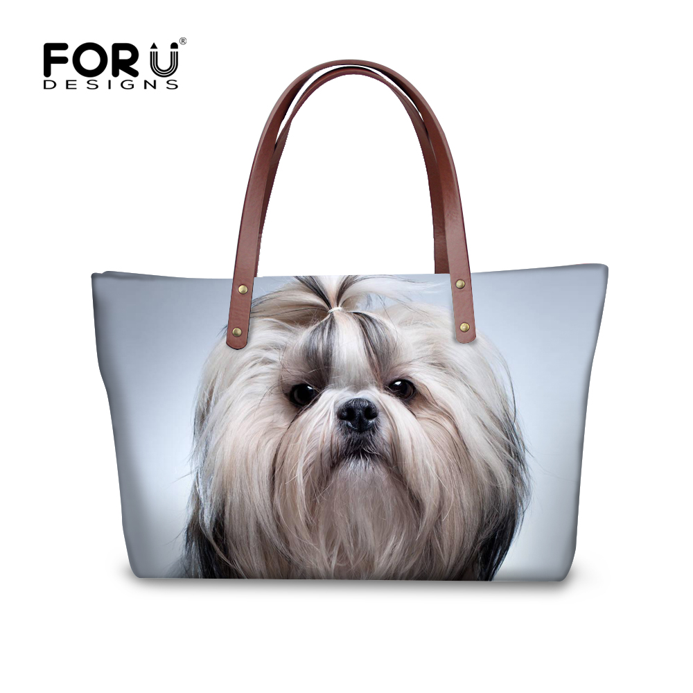 FORUDESIGNS Bags handbags women famous brands shoulder bags female, 3D Shih Tzu printing large ote bag Bolsas Femininas Sac A