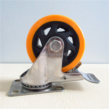 hot 4 inch nylon 304 Stainless steel caster wheel 100mm Steel Flat pvc Locking Casters