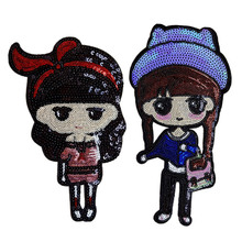 Cute Loli PET Sequin Embroidery Cloth Stickers Cartoon Girl High-end Clothing Accessories Oversized Patch Sequins