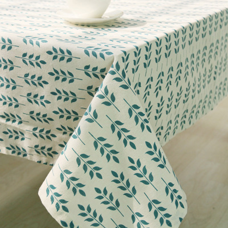 Orange Elephant Korean Style Green Leaf Decorative Table Cloth Cotton Linen Tablecloth Dining Table Cover