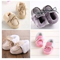 2016 New winter cotton wool lace up Baby Moccasins soft Baby boys Girls Shoes First Walker newborn baby shoes booties