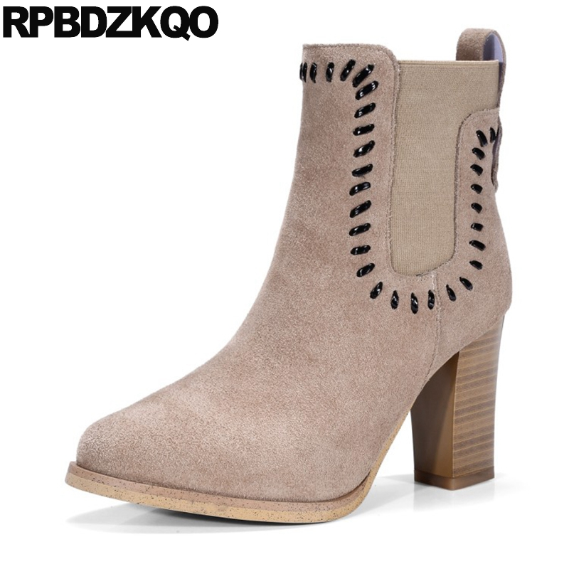 где купить Booties High Heel Women Ankle Boots 2016 Round Toe Fall Shoes Metal Real Leather Stud Short Brown Chelsea Suede Chunky Vintage по лучшей цене