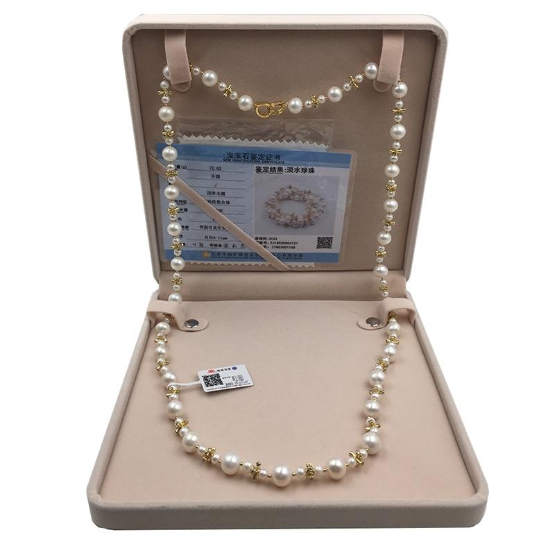 Collar de cadena de perlas de Sinya, collar largo con cordones de perlas naturales redondas para mujer, chica, amante de las madres, 85cm de longitud, diámetro 10 11mmnecklaces for womennecklace roundnecklace long -