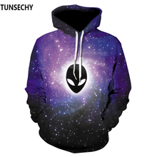 European and American DJ skull Hoodie men's wear 2018 new long sleeved hip-hop elastic pullover 3D digital print fashion Pullove