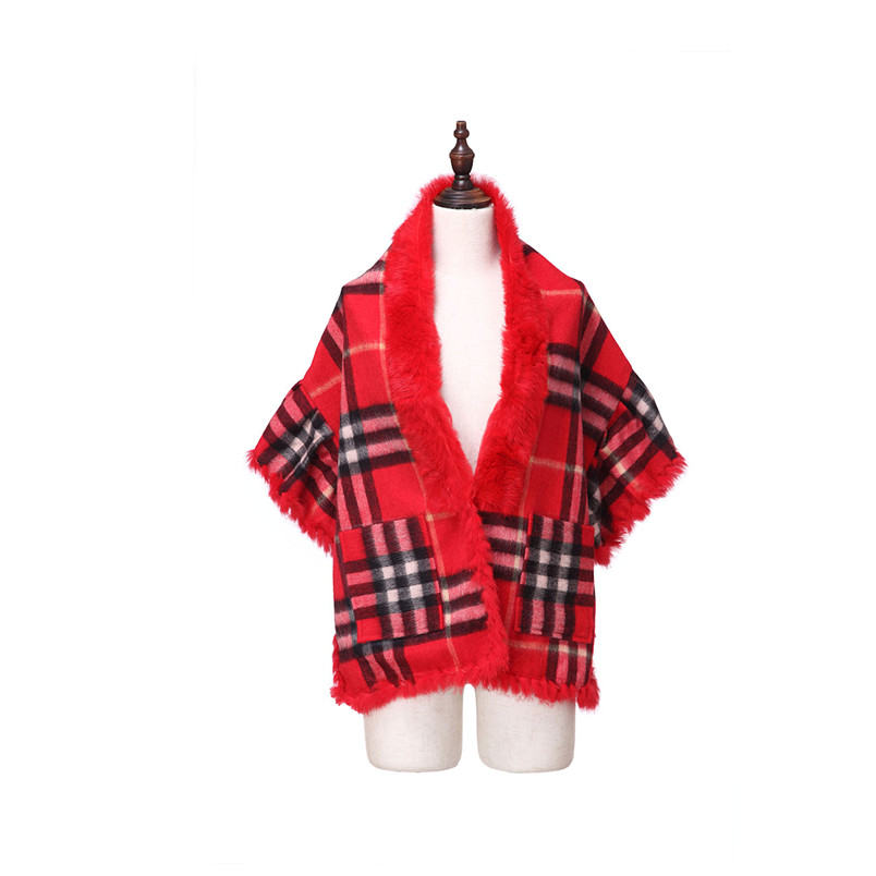 ZY87037 2016 Hot Sell Women Winter Popular Shawl Luxurious Rabbit Collar  With Pocket  Wraps Grid Pashmina Winter Cape