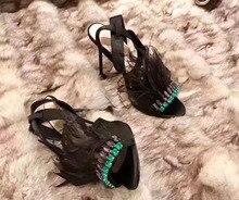 Суперзвезда любовь самых роскошных женщин высокий каблук сандалии босоножки обувь перо горный хрусталь сандалии дамы взлетно-посадочной полосы партии розовые туфли