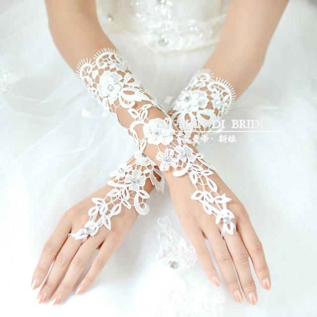 Noiva rendas luvas do vestido de casamento da noiva formais diamante vestir luvas luxo recorte de renda acessórios 76