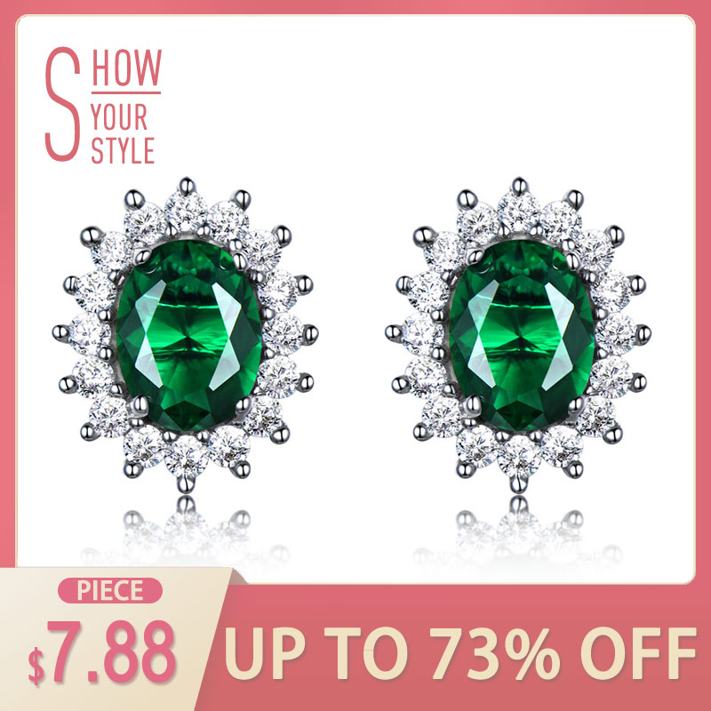 UMCHO Princess Stud Earrings Dibuat Emerald Gemstone 925 Sterling Silver Engagement Wedding Earrings Untuk Wanita Perhiasan