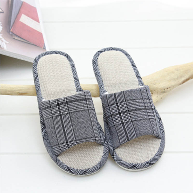 New Linen Ladies Slippers Unisex Casual Slippers Indoor Non slip Soft Bottom Slippers Couple Models Replica Lattice Slippers in Slippers from Shoes