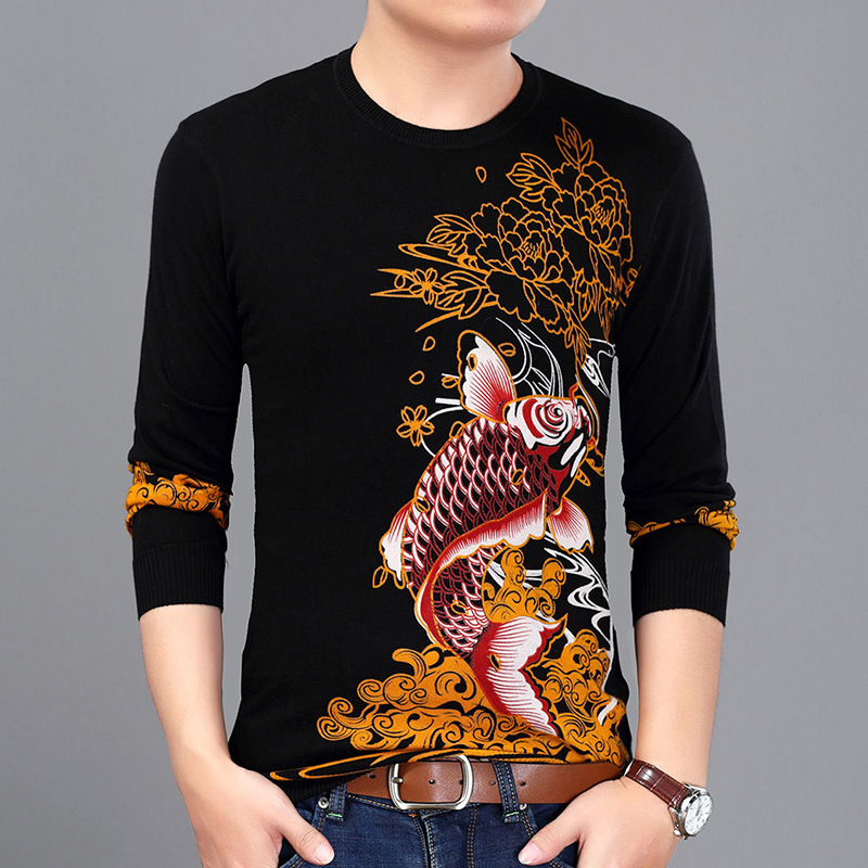 Exquisite 3D Squid Pattern Printing Fashion Pullover Knit Sweater Autumn 2018 New Quality Soft Elastic Fancy Sweater Men M-XXXL