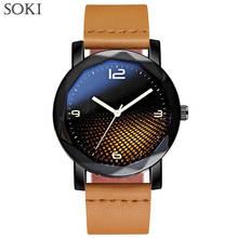 SOKI New Luxury Watch Orologio Uomo Fashion Black Leather Watches for Man Quartz Analog Wrist Watch Reloj hombre Hot Sales