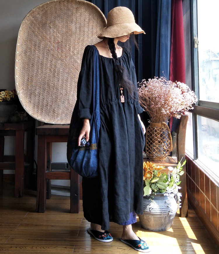 Women Plus Size Solid Color Ramie Robe Dress Ladies Big Size Vintage Retro Dress Female Oversize Dresses Loose Dress 2018 Autumn-in Dresses from Women's Clothing    1