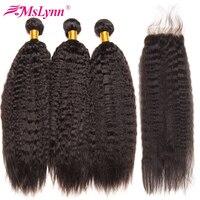Mslynn Kinky Straight Hair With Closure Brazilian Hair Weave Bundles Human Hair 3 Bundles With Closure
