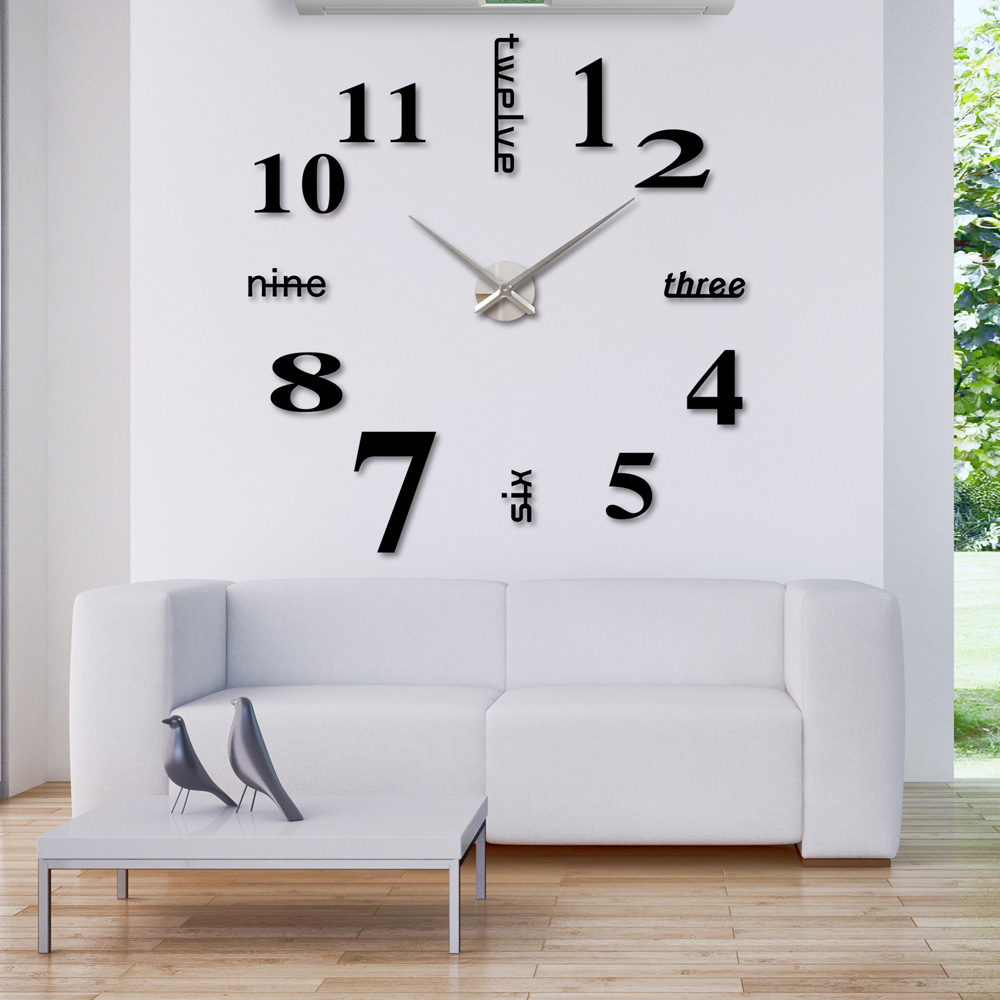 3d diy wall clock creative large watch decor stickers set mirror 3d diy wall clock creative large watch decor stickers set mirror clock effect acrylic glass decal home removable decoration in wall clocks from home amipublicfo Image collections