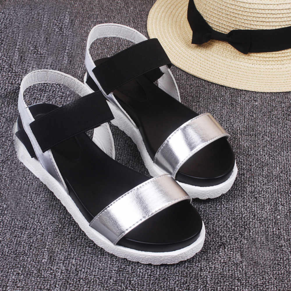 YOUYEDIAN sandalias mujer 2018  Women's Summer Sandals Shoes Peep-toe Low Shoes Roman Sandals Ladies Flip Flops #w30