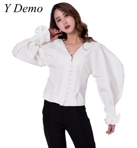 Y Demo Sexy New V-neck Buttons Womens Shirt Puff Sleeve Slim Lady Shirts