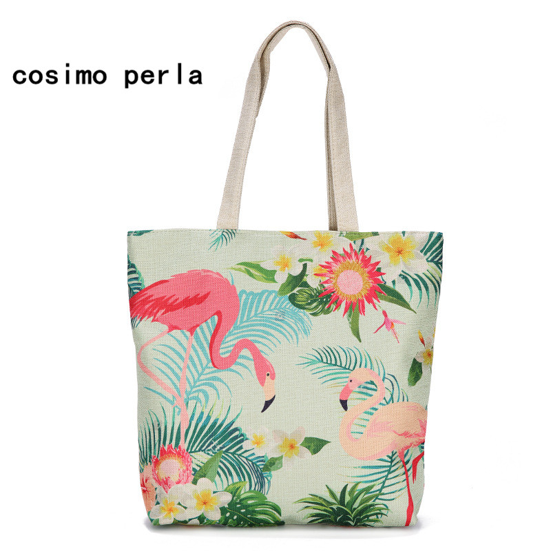 Cactus Flamingo Prints Linen Canvas Tote Bag Big Summer Women Shoulder Bags 2019 Causal Travel Beach Party Shopping Purse Zipper tote bag