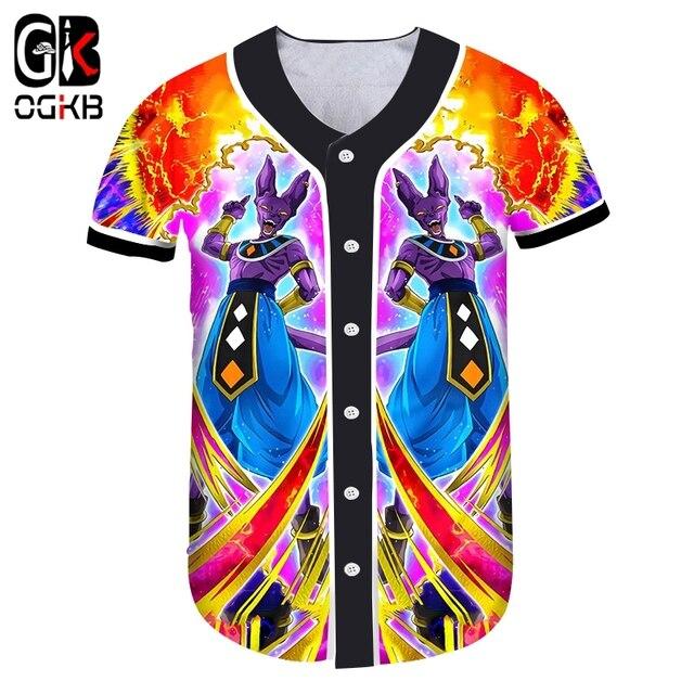 OGKB Summer Women Baseball Shirts Print Dragon Ball Beerus 3d Button  T-shirt Man Hiphop Streetwear V Neck Casual Tee Shirts e3724632f
