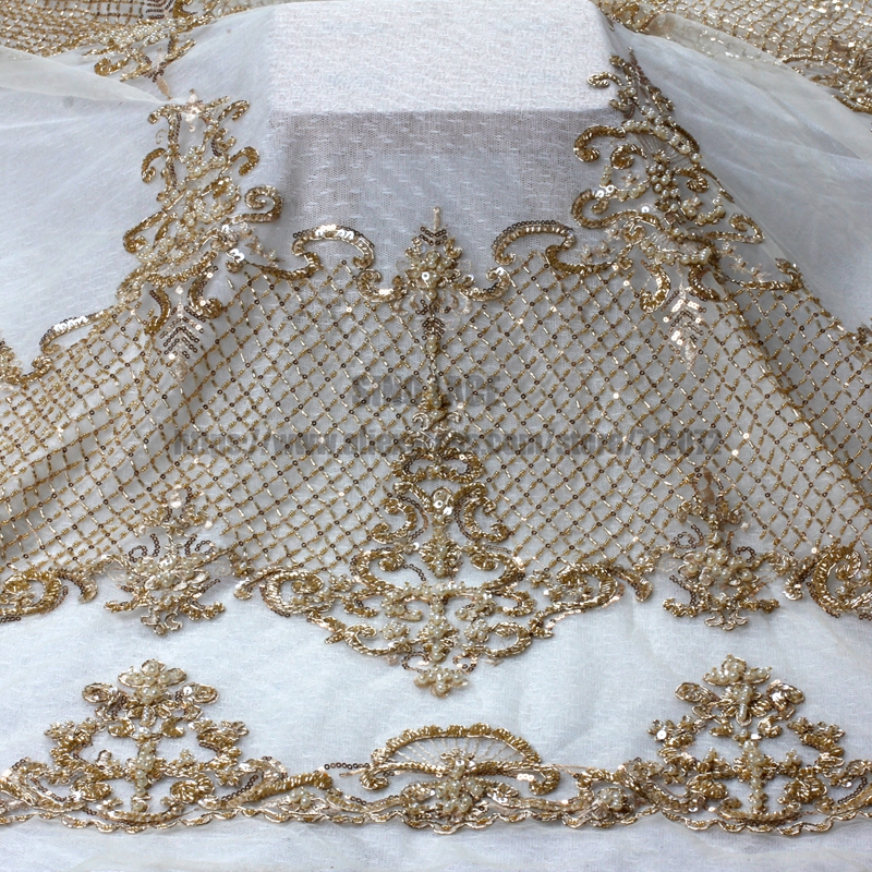 La Belleza  1 YARD Light gold beads fashion style super heavy beading lace fabric bride handmade beaded fabric-in Lace from Home & Garden    1