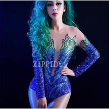 Блестящие стразы на сетчатой основе Боди женские вечерние сексуальные костюмы танцевальное шоу женская певица одежда прозрачные боди YOUDU