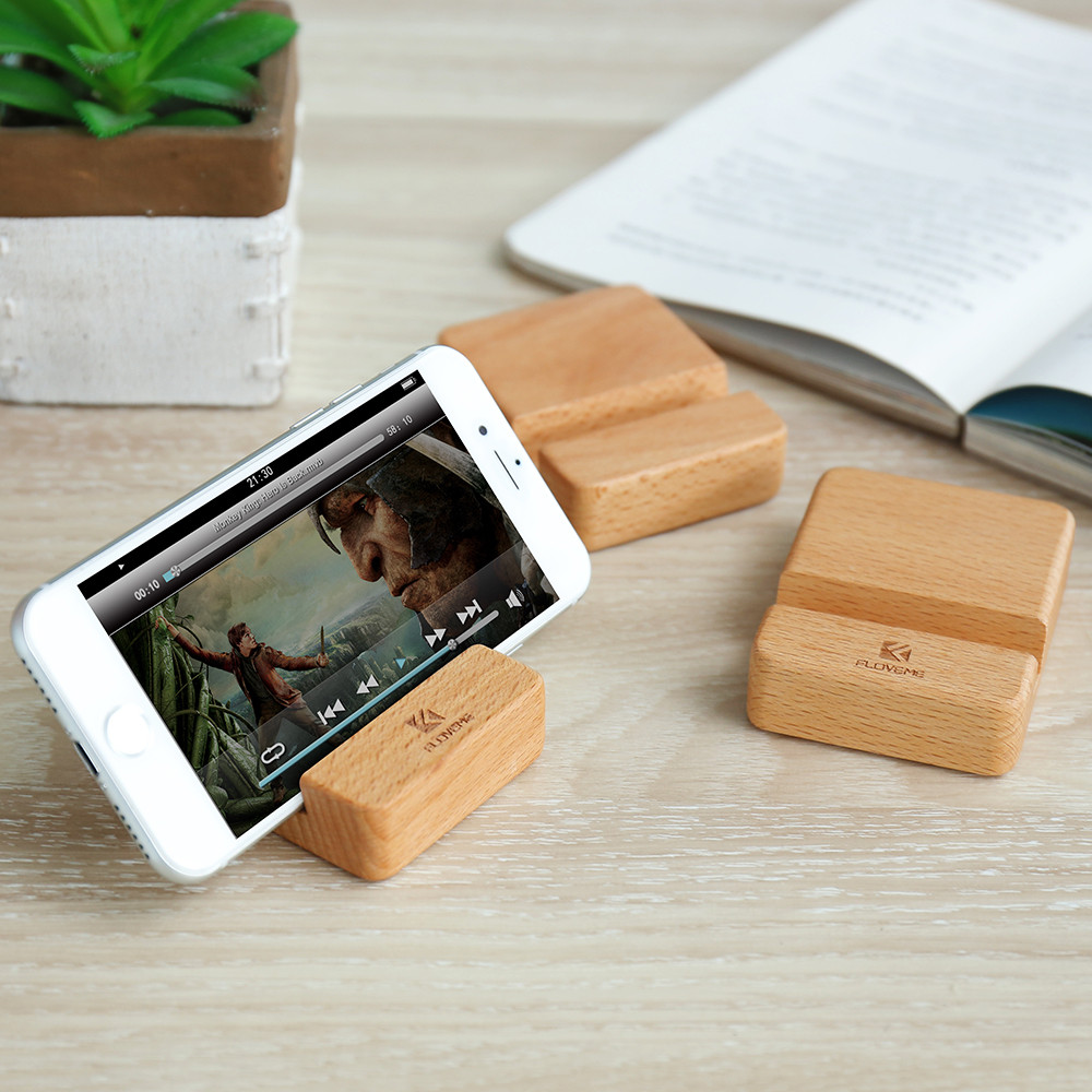 Genuine Beech Wood Mobile Phone Holder For iPhone 6 7 8 Mini Size Super Light Portable Desk Holder Stand For Samsung S9 Note 8