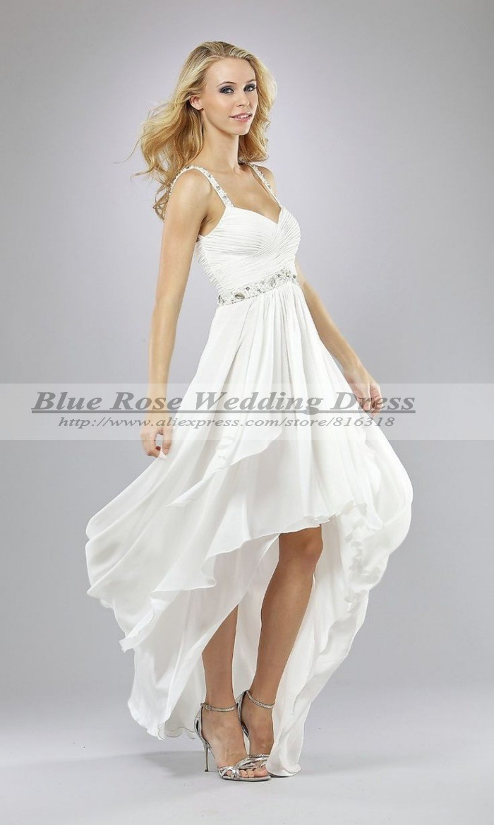 The best luxyvestido de noiva blue high low wedding dress for Sexy high low wedding dresses