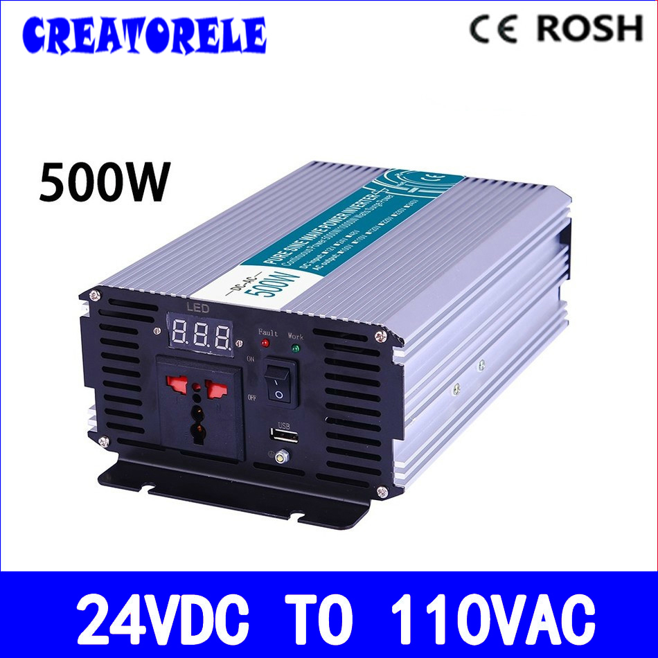 P500-241 500W pure sine wave power inverter 24v to 110v voltage converter solar inverter,LED Display,Full power for home use meziere wp101b sbc billet elec w p