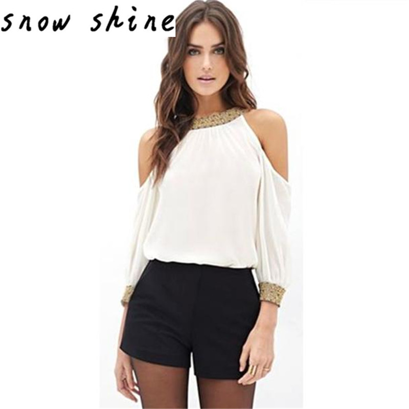 snowshine YLSW  Women Long Sleeve Chiffon Shirts Blouse Off Shoulder Loose Casual Tops free shipping